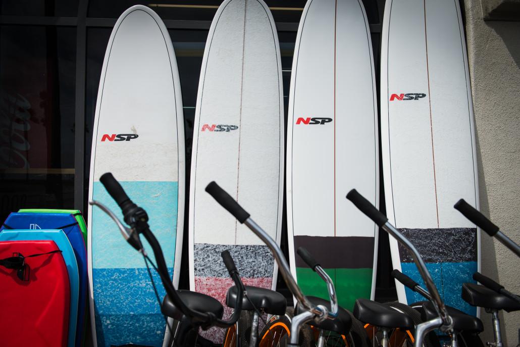 surfboard rentals, bike rentals